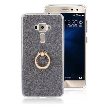 Luxury Soft TPU Glitter Back Ring Cover with 360 Rotate Finger Holder Buckle for Asus Zenfone 3 ZE552KL - Black