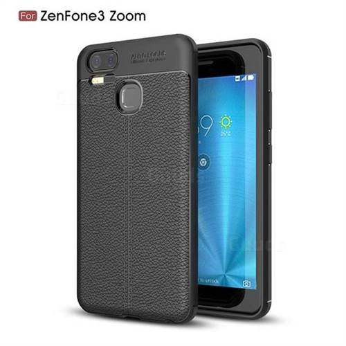 Luxury Auto Focus Litchi Texture Silicone TPU Back Cover for Asus Zenfone 3 Zoom ZE553KL - Black