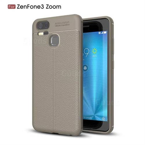 Luxury Auto Focus Litchi Texture Silicone TPU Back Cover for Asus Zenfone 3 Zoom ZE553KL - Gray