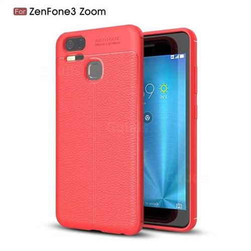 Luxury Auto Focus Litchi Texture Silicone TPU Back Cover for Asus Zenfone 3 Zoom ZE553KL - Red