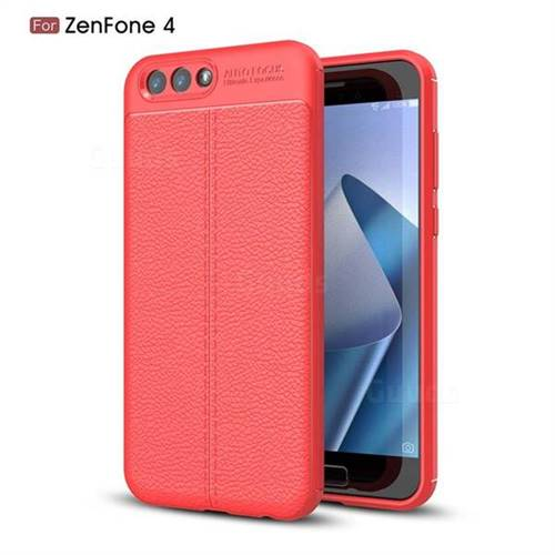 Luxury Auto Focus Litchi Texture Silicone TPU Back Cover for Asus Zenfone 4 ZE554KL - Red