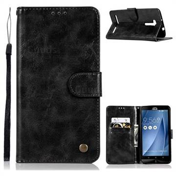 Luxury Retro Leather Wallet Case for Asus Zenfone 2 Laser ZE601KL - Black