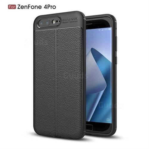 Luxury Auto Focus Litchi Texture Silicone TPU Back Cover for Asus Zenfone 4 Pro ZS551KL - Black