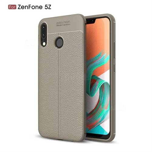 Luxury Auto Focus Litchi Texture Silicone TPU Back Cover for Asus Zenfone 5Z ZS620KL - Gray
