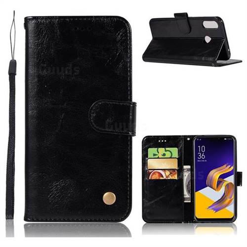 detailed look 902aa ba6a6 Luxury Retro Leather Wallet Case for Asus Zenfone 5Z ZS620KL - Black