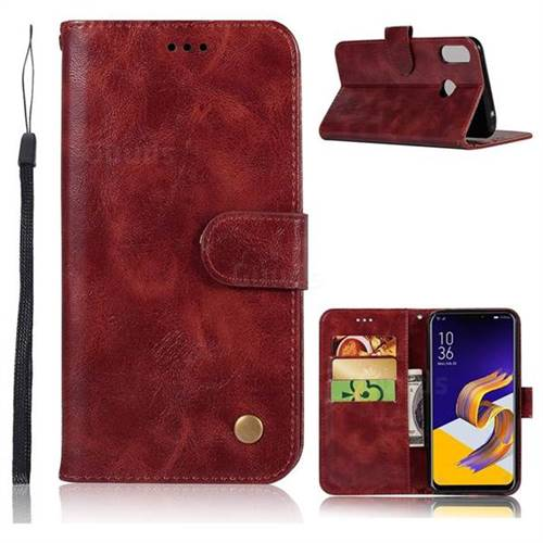 Luxury Retro Leather Wallet Case for Asus Zenfone 5Z ZS620KL - Wine Red
