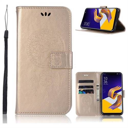 Intricate Embossing Owl Campanula Leather Wallet Case for Asus Zenfone 5Z ZS620KL - Champagne
