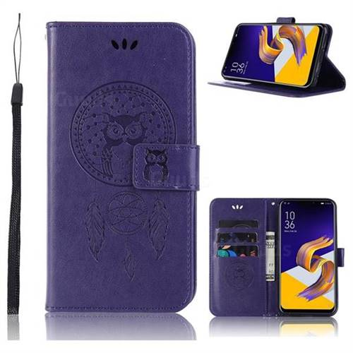 Intricate Embossing Owl Campanula Leather Wallet Case for Asus Zenfone 5Z ZS620KL - Purple