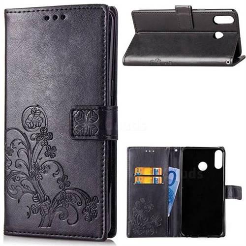 Embossing Imprint Four-Leaf Clover Leather Wallet Case for Asus Zenfone 5Z ZS620KL - Black