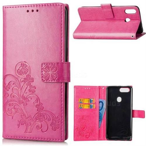 Embossing Imprint Four-Leaf Clover Leather Wallet Case for Asus Zenfone 5Z ZS620KL - Rose
