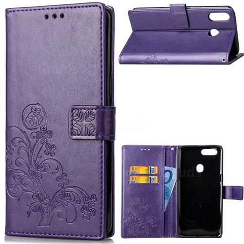 Embossing Imprint Four-Leaf Clover Leather Wallet Case for Asus Zenfone 5Z ZS620KL - Purple