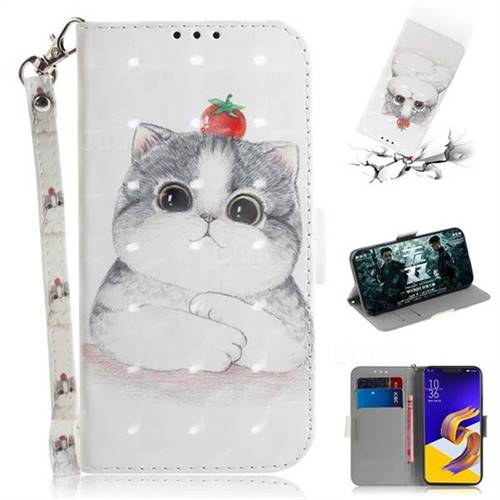 Cute Tomato Cat 3D Painted Leather Wallet Phone Case for Asus Zenfone 5Z ZS620KL