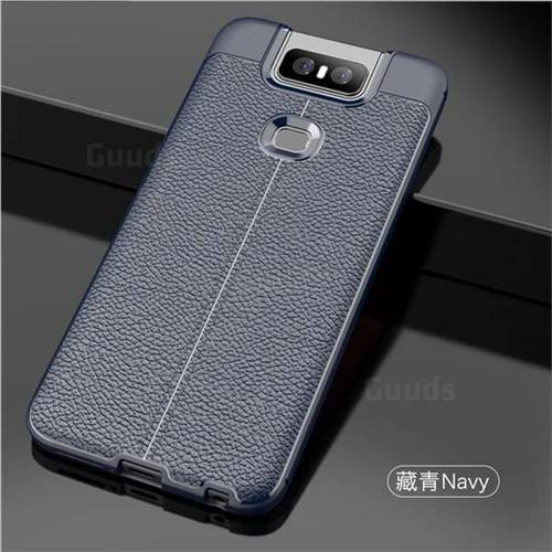 purchase cheap 6c0f8 b3727 Luxury Auto Focus Litchi Texture Silicone TPU Back Cover for Asus ZenFone 6  (ZS630KL) - Dark Blue