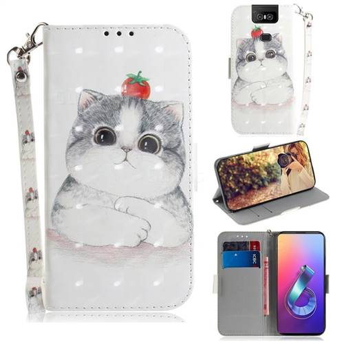 Cute Tomato Cat 3D Painted Leather Wallet Phone Case for Asus ZenFone 6 (ZS630KL)