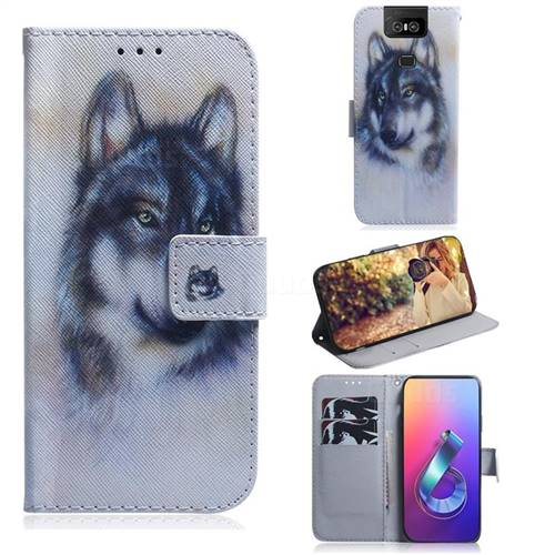 Snow Wolf PU Leather Wallet Case for Asus ZenFone 6 (ZS630KL)