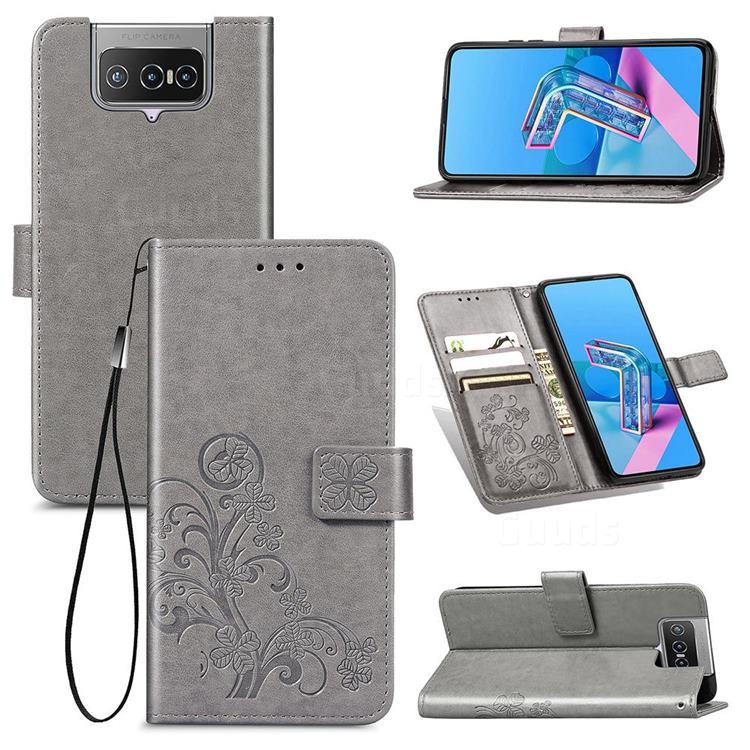 Embossing Imprint Four-Leaf Clover Leather Wallet Case for Asus Zenfone 7 ZS670KS / 7 Pro ZS671KS - Grey