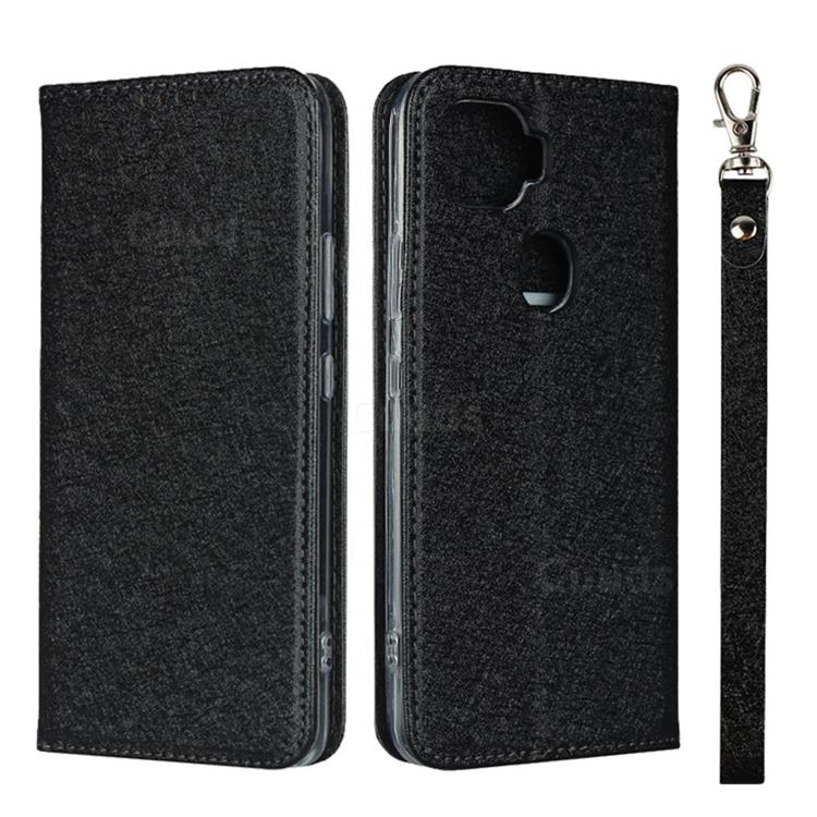 Ultra Slim Magnetic Automatic Suction Silk Lanyard Leather Flip Cover for ZTE A1 ZTG01 5G - Black