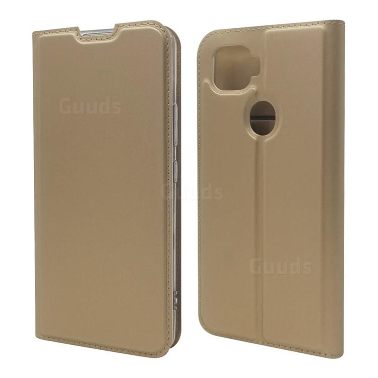 Ultra Slim Card Magnetic Automatic Suction Leather Wallet Case for ZTE A1 ZTG01 5G - Champagne