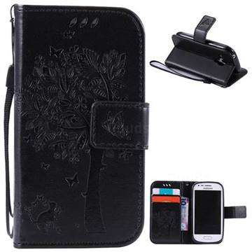 Embossing Butterfly Tree Leather Wallet Case for Samsung Galaxy S3 III Mini i8190 - Black