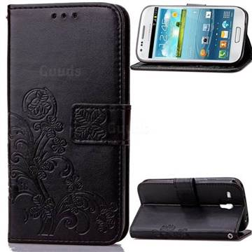 Embossing Imprint Four-Leaf Clover Leather Wallet Case for Samsung Galaxy S3 Mini i8190 - Black