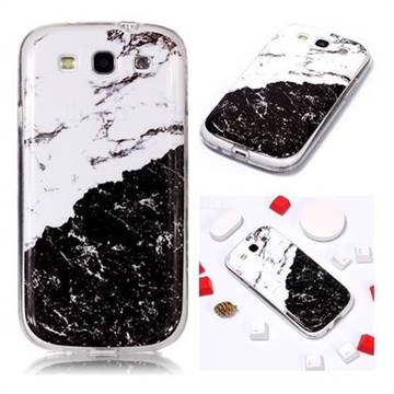 Black and White Soft TPU Marble Pattern Phone Case for Samsung Galaxy S3