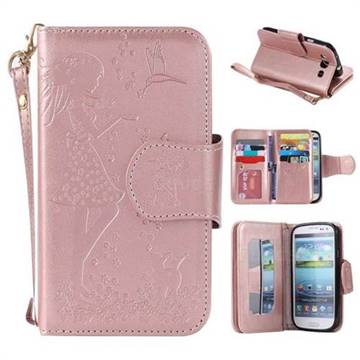 promo code b971b 6de21 Embossing Cat Girl 9 Card Leather Wallet Case for Samsung Galaxy S3 - Rose  Gold