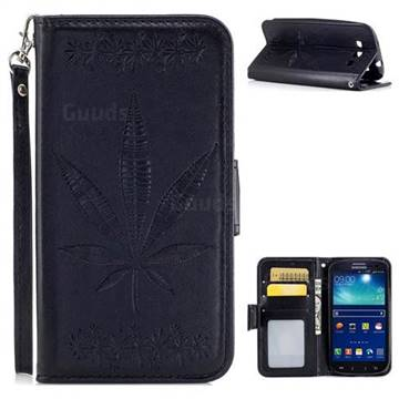 Intricate Embossing Maple Leather Wallet Case for Samsung Galaxy S3 - Black