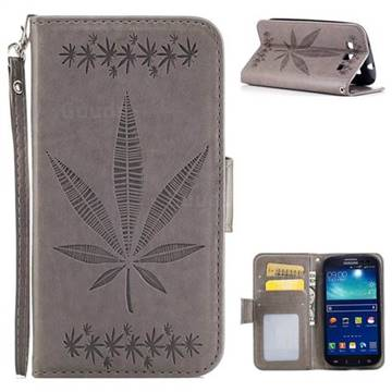Intricate Embossing Maple Leather Wallet Case for Samsung Galaxy S3 - Gray