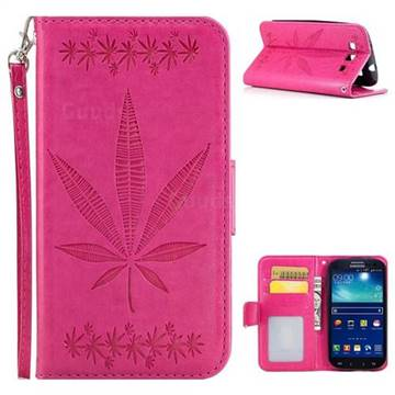 Intricate Embossing Maple Leather Wallet Case for Samsung Galaxy S3 - Rose