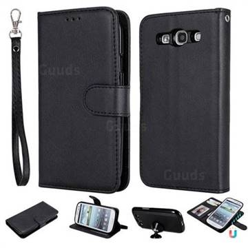 Retro Greek Detachable Magnetic PU Leather Wallet Phone Case for Samsung Galaxy S3 - Black