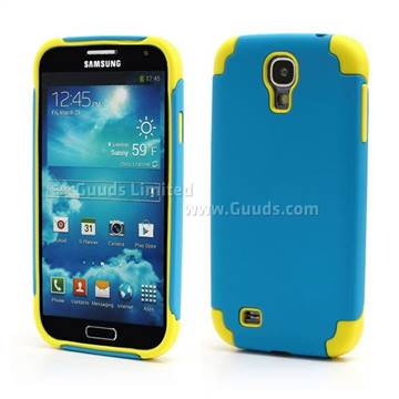 Matte Plastic and Silicone Hybrid Case for Samsung Galaxy S4 i9500 i9502 i9505 - Blue /