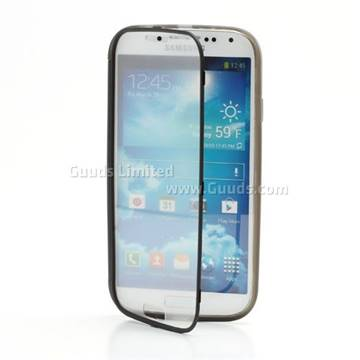 Matte TPU Gel Case for Samsung Galaxy S4 i9500 i9502 i9505 with Front Transparent Touch Flip Cover - Grey