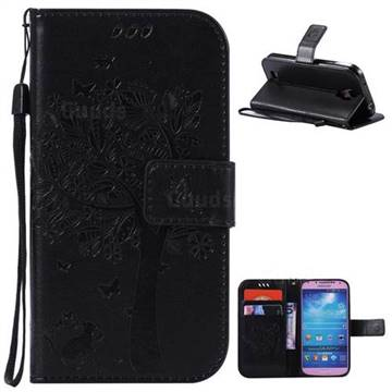 Embossing Butterfly Tree Leather Wallet Case for Samsung Galaxy S4 - Black