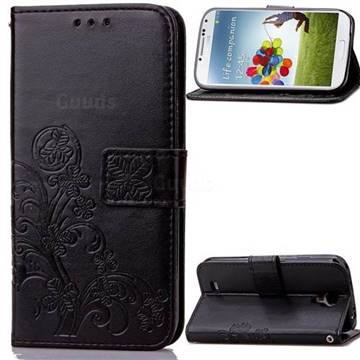 Embossing Imprint Four-Leaf Clover Leather Wallet Case for Samsung Galaxy S4 - Black