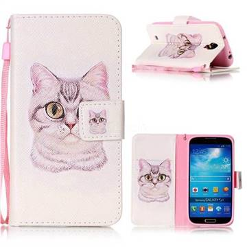 Lovely Cat Leather Wallet Phone Case for Samsung Galaxy S4