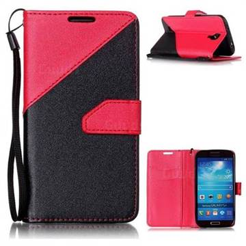 pretty nice c3391 9dc61 Dual Color Gold-Sand Leather Wallet Case for Samsung Galaxy S4 (Black /  Rose )
