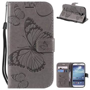 Embossing 3D Butterfly Leather Wallet Case for Samsung Galaxy S4 - Gray