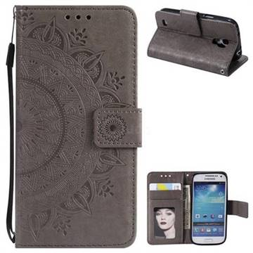 Intricate Embossing Datura Leather Wallet Case for Samsung Galaxy S4 - Gray