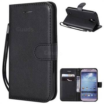 Retro Greek Classic Smooth PU Leather Wallet Phone Case for Samsung Galaxy S4 - Black