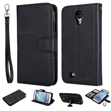 Retro Greek Detachable Magnetic PU Leather Wallet Phone Case for Samsung Galaxy S4 - Black