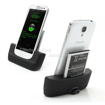 2 in 1 Dock Charger for Samsung Galaxy S4 i9500 i9502 i9505 with Battery Seat - Black