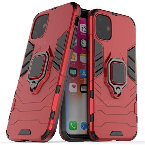 Black Panther Armor Metal Ring Grip Shockproof Dual Layer Rugged Hard Cover for iPhone 11 (6.1 inch) - Red