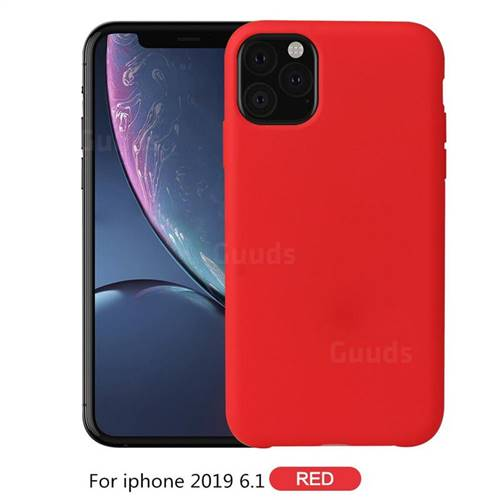 Howmak Slim Liquid Silicone Rubber Shockproof Phone Case Cover for iPhone 11 (6.1 inch) - Red