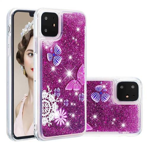 Purple Flower Butterfly Dynamic Liquid Glitter Quicksand Soft TPU Case for iPhone 11 (6.1 inch)