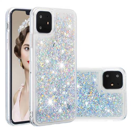 Dynamic Liquid Glitter Quicksand Sequins TPU Phone Case for iPhone 11 (6.1 inch) - Silver