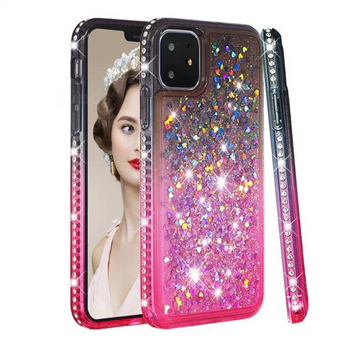 Diamond Frame Liquid Glitter Quicksand Sequins Phone Case for iPhone 11 (6.1 inch) - Gray Pink