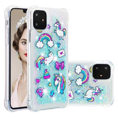 Fashion Unicorn Dynamic Liquid Glitter Sand Quicksand Star TPU Case for iPhone 11 (6.1 inch)