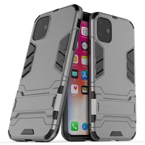 Armor Premium Tactical Grip Kickstand Shockproof Dual Layer Rugged Hard Cover for iPhone 11 (6.1 inch) - Gray