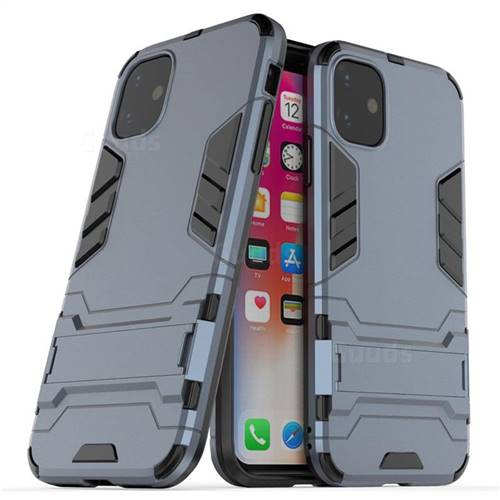 Armor Premium Tactical Grip Kickstand Shockproof Dual Layer Rugged Hard Cover for iPhone 11 (6.1 inch) - Navy