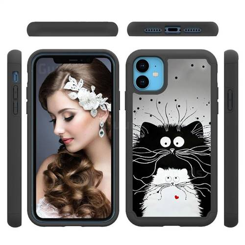 Black and White Cat Shock Absorbing Hybrid Defender Rugged Phone Case Cover for iPhone 11 (6.1 inch)